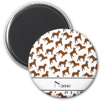 Personalized name white Bouvier des Flandres dogs 2 Inch Round Magnet