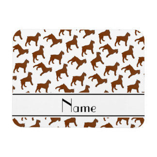 Personalized name white Bouvier des Flandres dogs Rectangular Photo Magnet
