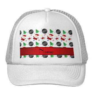 Personalized name white bowling christmas pattern trucker hat