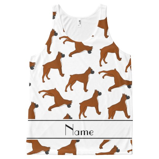 Personalized name white boxer dog pattern All-Over print tank top Tank Tops, Tanktops Shirts