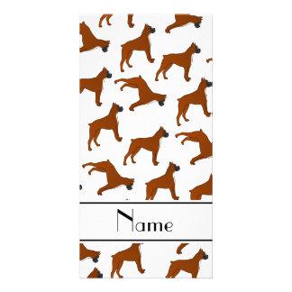 Personalized name white boxer dog pattern photo card