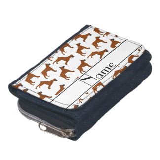 Personalized name white boxer dog pattern wallets