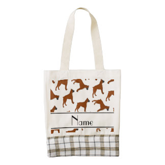 Personalized name white boxer dog pattern zazzle HEART tote bag