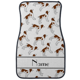 Personalized name white brittany spaniel dogs car floor mat
