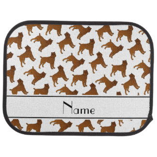Personalized name white brussels griffon dogs car mat