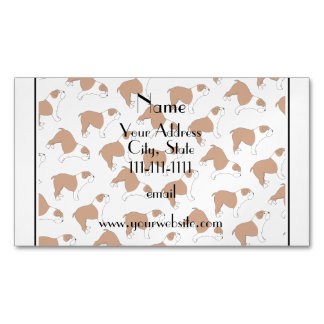 Personalized name white Bulldog Magnetic Business Cards (Pack Of 25)