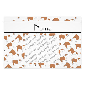 Personalized name white Bulldog Photo Print