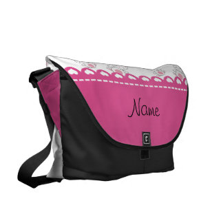 Personalized name  white bunnies pink stripe messenger bags