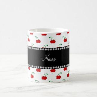 Personalized name white cherry pattern coffee mug