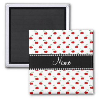 Personalized name white cherry pattern magnets