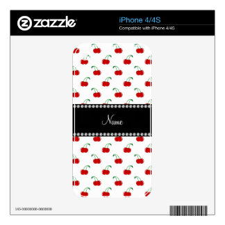 Personalized name white cherry pattern decals for the iPhone 4