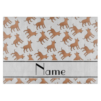 Personalized name white chihuahua dogs cutting board