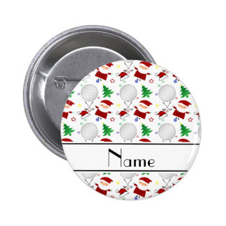 Personalized name white christmas golfing 2 inch round button