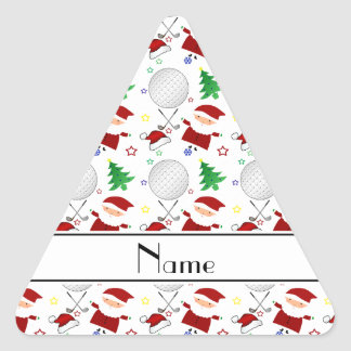 Personalized name white christmas golfing triangle sticker