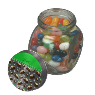 Personalized name white christmas pudding pattern jelly belly candy jars