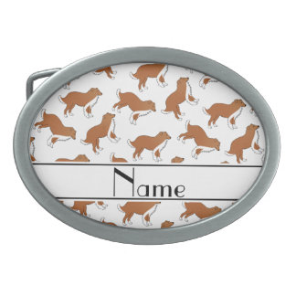 Personalized name white collie dog pattern belt buckle