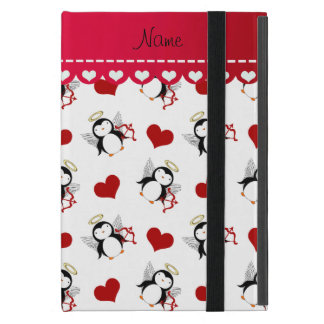 Personalized name white cupid penguins red hearts cover for iPad mini