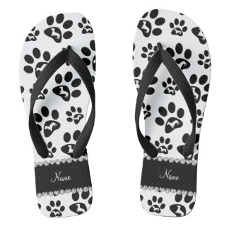 Personalized name white dachshunds dog paws flip flops
