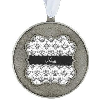 Personalized name White damask Scalloped Ornament