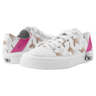 Personalized name white dandie dinmont terriers printed shoes