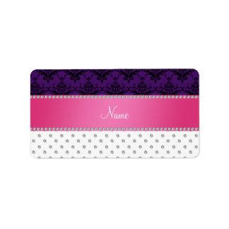 Personalized name white diamond purple damask labels
