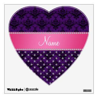 Personalized name white diamond purple damask wall skins