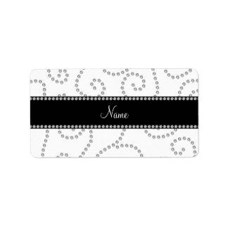 Personalized name white diamond swirls labels