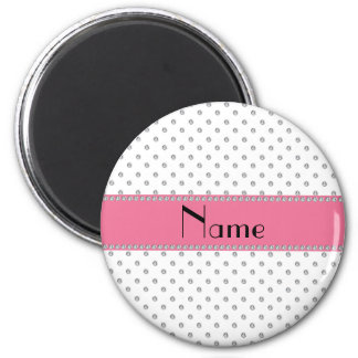 Personalized name white diamonds 2 inch round magnet