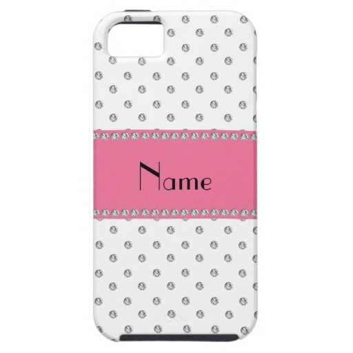 Personalized name white diamonds iPhone 5 cases