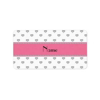 Personalized name white diamonds hearts personalized address label