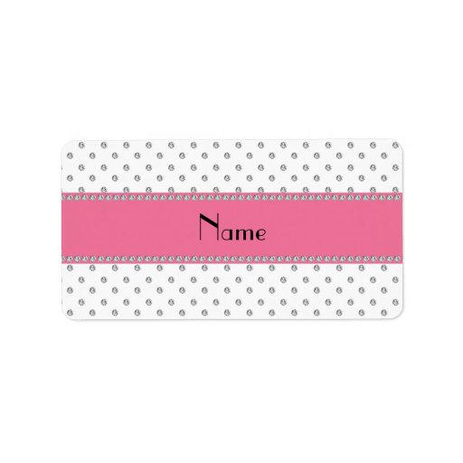 Personalized name white diamonds personalized address label