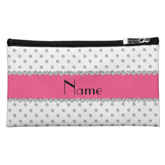 Personalized name white diamonds pink stripe cosmetic bags