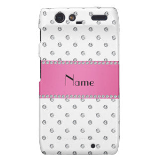 Personalized name white diamonds pink stripe motorola droid RAZR cases