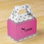 Personalized name white diamonds pink stripe party favor boxes