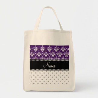 Personalized name white diamonds purple damask tote bags