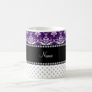 Personalized name white diamonds purple damask coffee mug