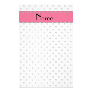 Personalized name white diamonds stationery