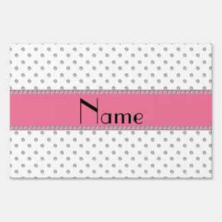 Personalized name white diamonds yard signs