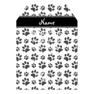 Personalized name white dog paw print card