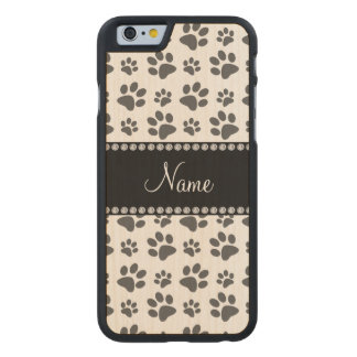 Personalized name white dog paw print carved maple iPhone 6 slim case