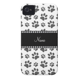 Personalized name white dog paw print blackberry case