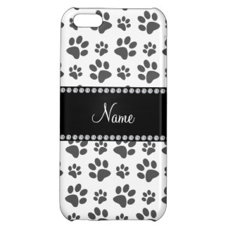 Personalized name white dog paw print case for iPhone 5C