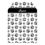 Personalized name white dog paw print invite