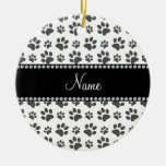 Personalized name white dog paw print christmas ornaments