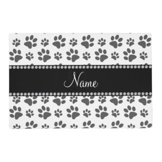 Personalized name white dog paw print placemat
