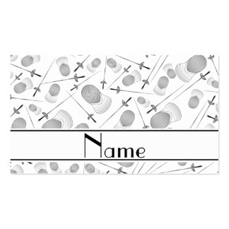 Personalized name white fencing pattern Double-Sided standard business cards (Pack of 100)