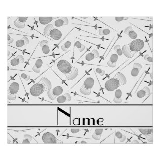 Personalized name white fencing pattern poster