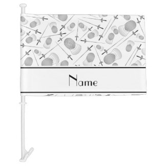 Personalized name white fencing pattern car flag
