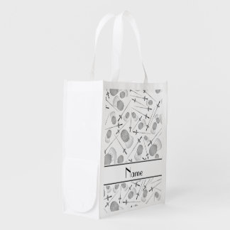 Personalized name white fencing pattern grocery bags
