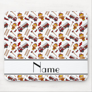 Personalized name white firemen trucks ladders mouse pad